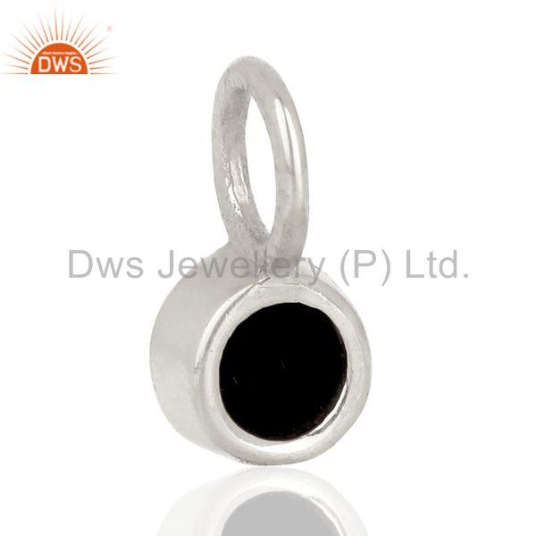 Suppliers Black Onyx Round Shape Sterling Silver Silver Plated Connector Pendant Jewelry
