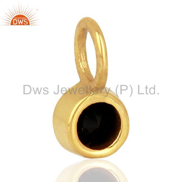 Suppliers Black Onyx Round Shape Sterling Silver 14K Gold Plated Connector Pendant Jewelry