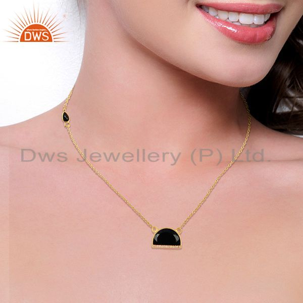 Suppliers Black Onyx Half Moon Cz Studded 14K Gold Plated Sterling Silver Pendent