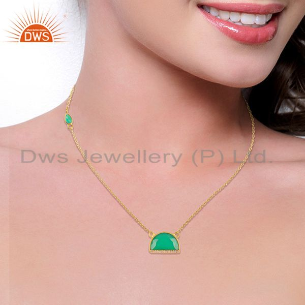 Suppliers Green Onyx Half Moon Cz Studded 14K Gold Plated Sterling Silver Pendent