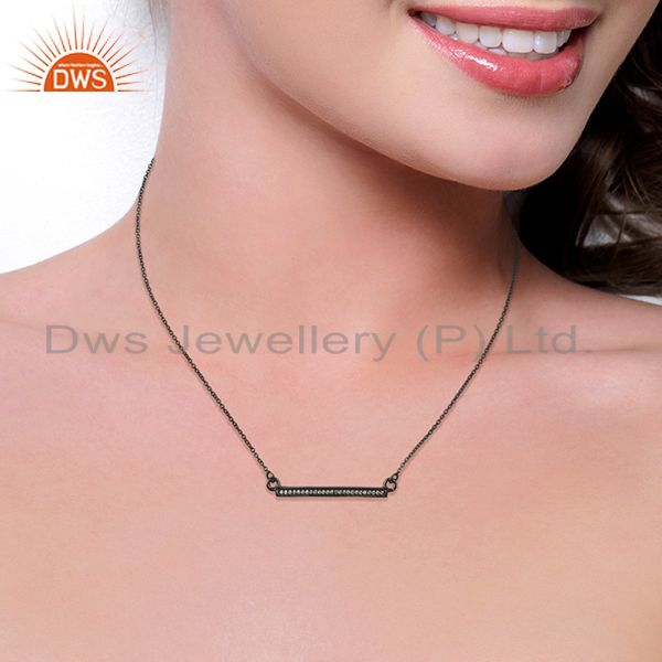 Suppliers White Cz Studded Long Bar Necklace Black Rhodium Plated 92.5 Silver Necklace