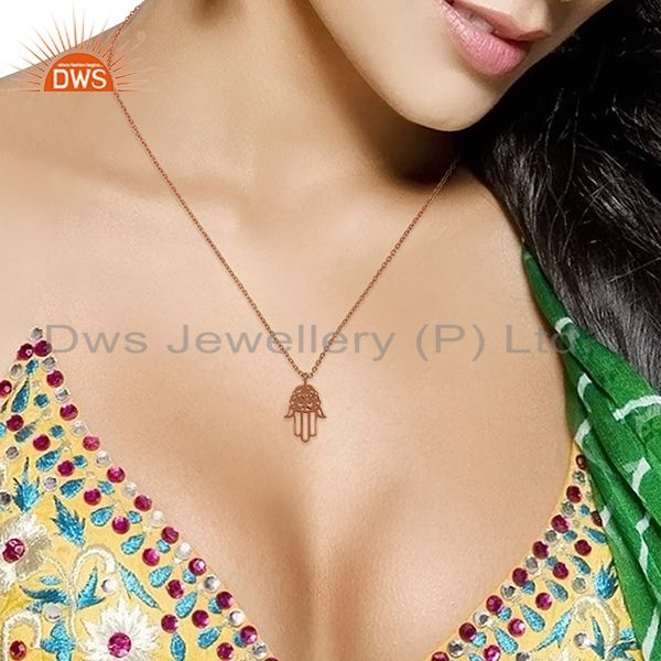 Suppliers Rose Gold Plated Hamsa Charm Silver Chain Pendant Jewelry Supplier