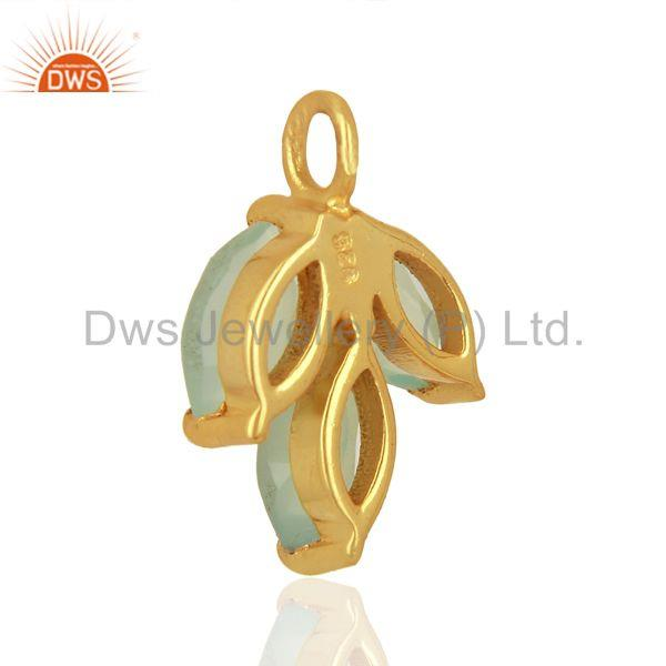 Suppliers Aqua Chalcedony Gemstone Pendant Connector Jewelry Findings Supplier