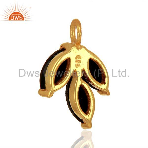 Suppliers Natural Black Onyx Gemstone Gold Plated Silver Connector Findings