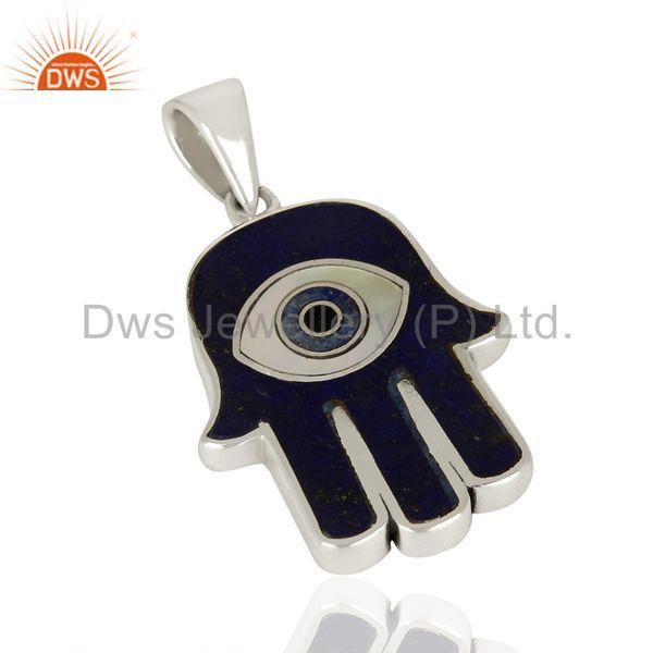 Suppliers Lapis And Mother Of Pearl Designer Carved Hamsa 92.5 Sterling Silver Pendent