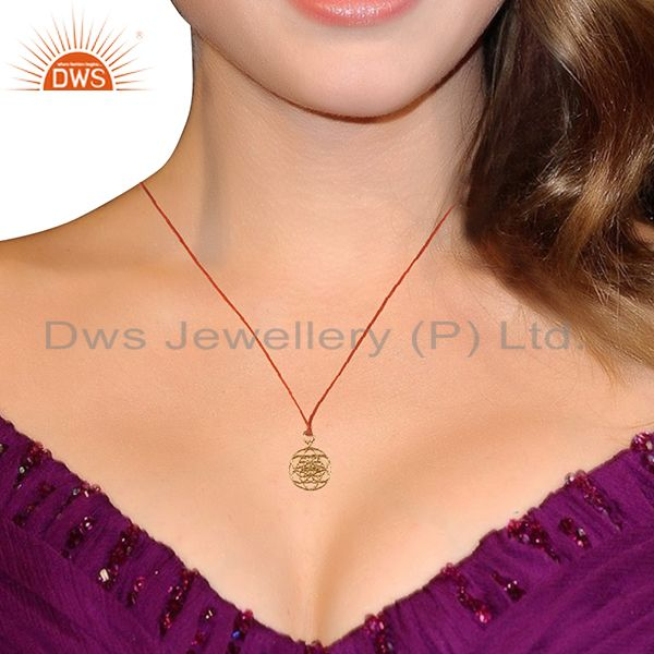 Suppliers Flower Of Life 925 Sterling Silver Rose Gold Plated Brown Silk thread Pendant