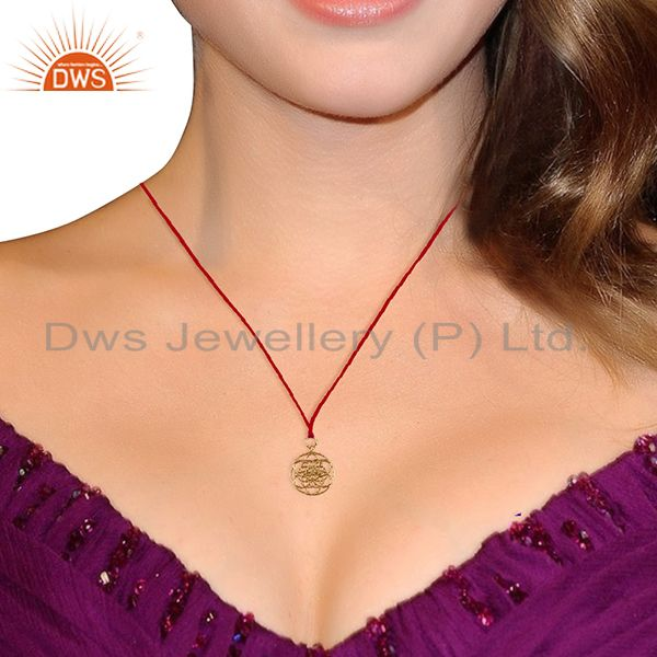 Suppliers Flower Of Life 925 Sterling Silver Rose Gold Plated Pink Silk thread Pendant