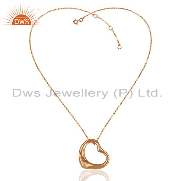 Suppliers Open Heart 925 Sterling Silver Rose Gold Plated Pendants