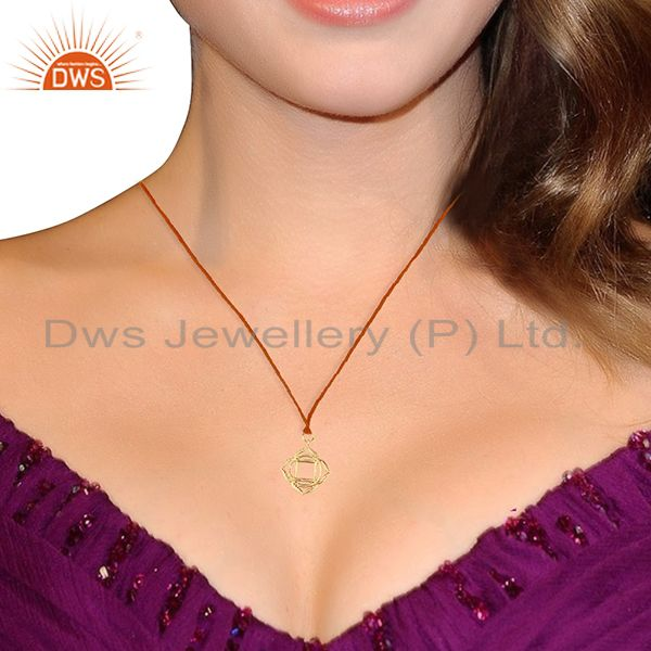 Suppliers Muladhara Roots 925 Sterling Silver Rose Gold Plated Brown Silk Thread Pendant