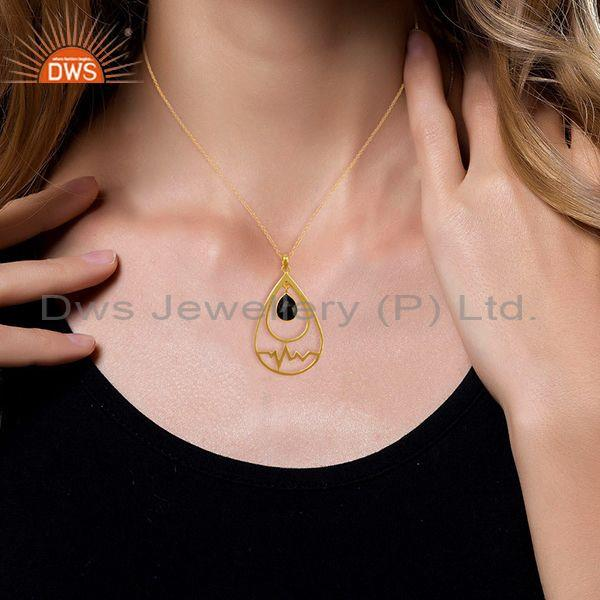 Suppliers Hematite Simple Heartbeat Gold Plated Designer Silver Pendent