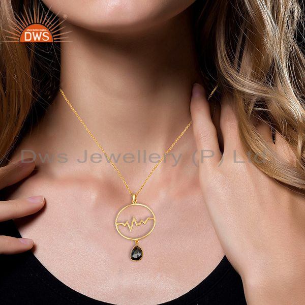 Suppliers Hematite Heartbeat Round Shape Gold Plated Designer Silver Wholesale Pendent