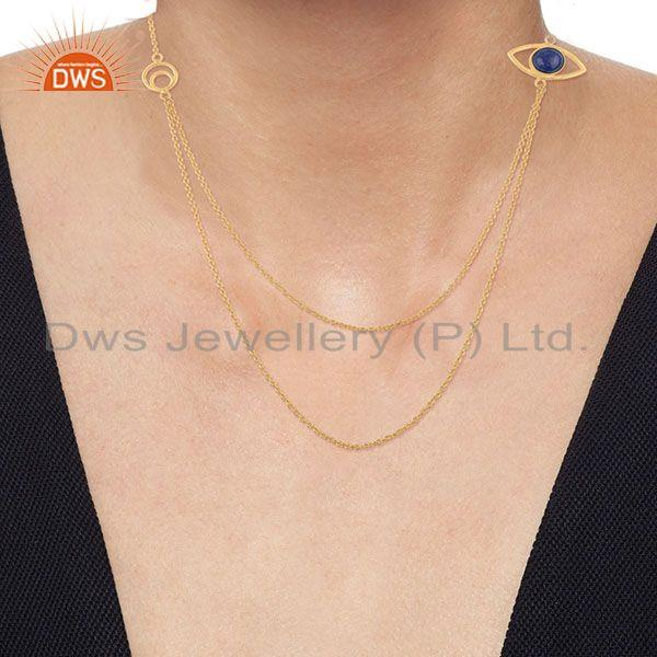 Suppliers Handmade Evil Eye Design Gold Plated 925 Silver Chain Necklace Suppliers