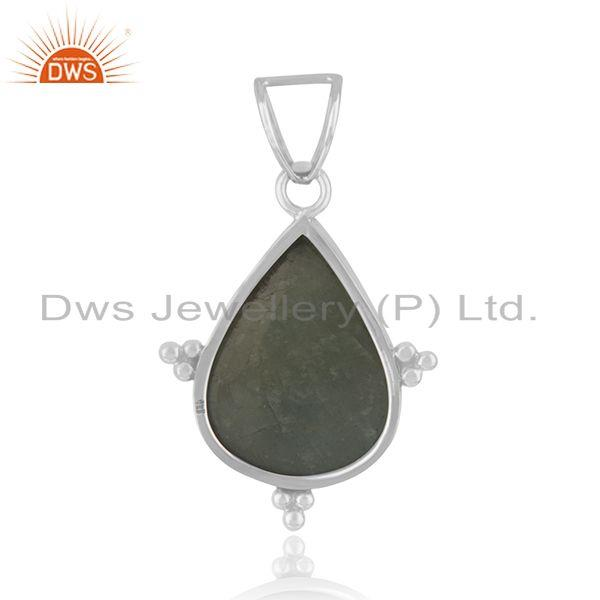 Suppliers Wholesale Aquamarine Gemstone Oxidized Pendant Silver Jewelry