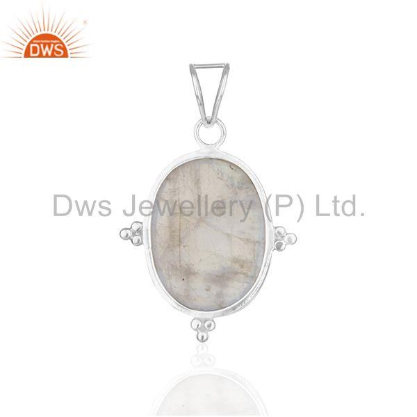 Suppliers Rainbow Moonstone 925 Sterling Silver Customized Pendant Manufacturer from India