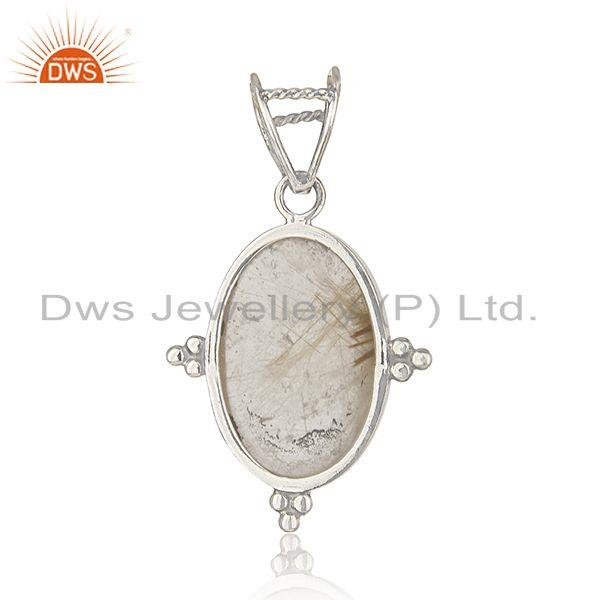 Suppliers Golden Rutile Gemstone Sterling Silver Designer Pendant Wholesale Suppliers