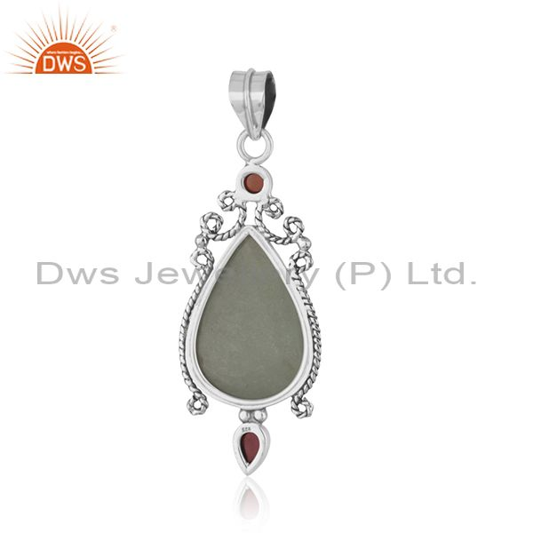 Suppliers Aquamarine Garnet Sterling Silver Oxidized Pendant Jewelry