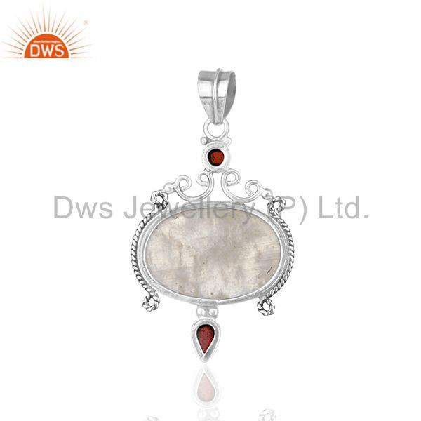 Suppliers Garnet and Rainbow Moonstone Designer 925 Silver Pendant Jewellery Manufacturer