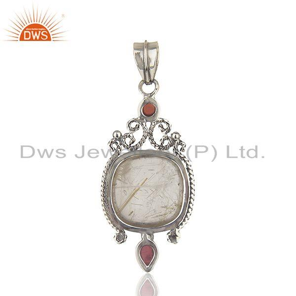 Suppliers Oxidized Sterling Silver Moonstone and Garnet Gemstone Pendant Manufacturers
