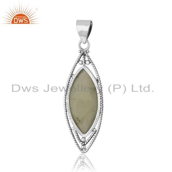 Suppliers Oxidized Sterling Silver Prehnite Gemstone Pendant Jewelry