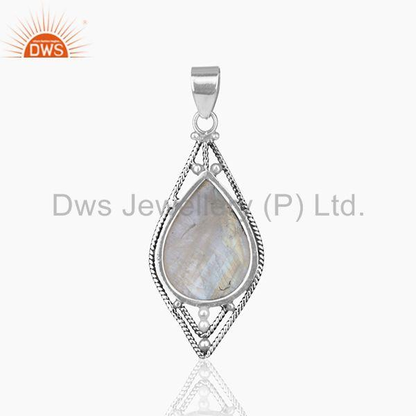 Suppliers Oxidized 925 Silver Rainbow Moonstone Designer Customized Pendant Manufacturers