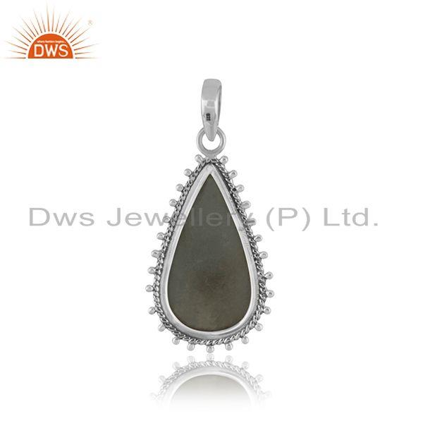 Suppliers Oxidized Sterling Silver Aquamarine Gemstone Pendant