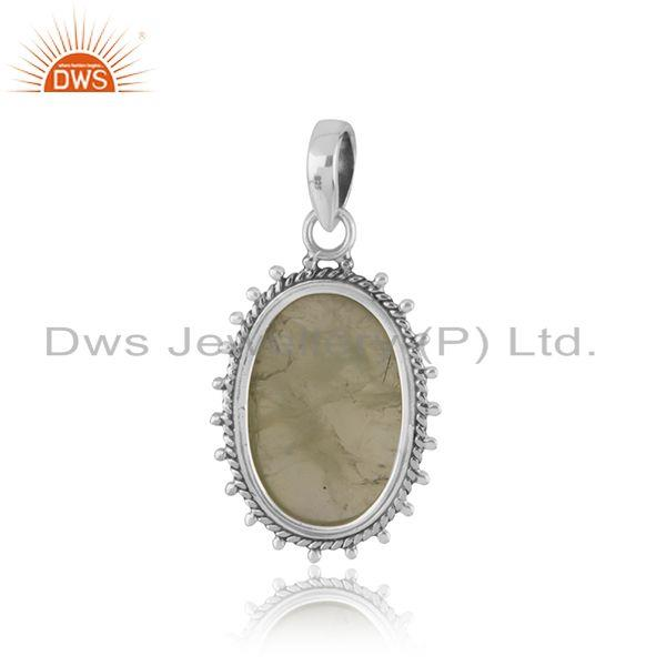 Suppliers Prehnite Gemstone Indian 925 Silver Oxidized Ring Jewelry