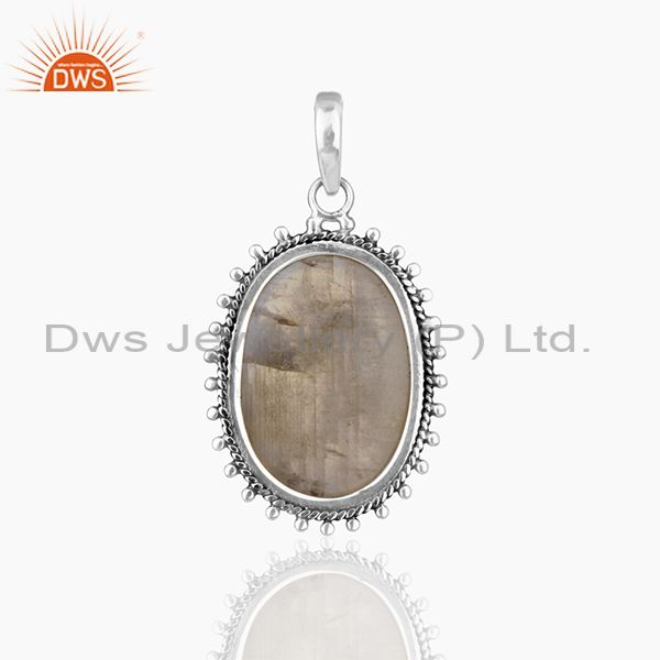 Suppliers Rainbow Moonstone 925 Sterling Silver Oxidized Designer Pendant Jewellery