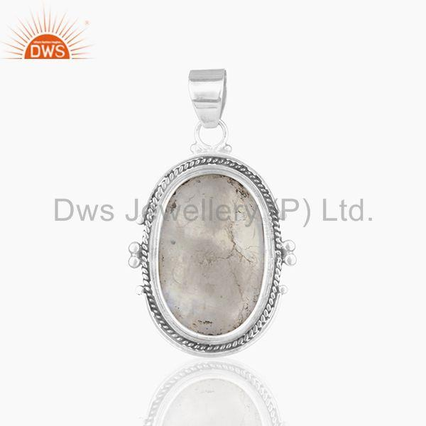 Suppliers Handmade Oxidized 925 Silver Rainbow Moonstone Pendant Wholesale