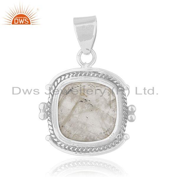 Suppliers Golden Rutile Gemstone 925 Sterling Silver Pendant Manufacturer of Jewellery