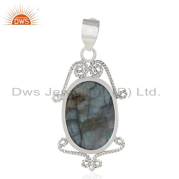 Suppliers Natural Labradorite Gemstone 92.5 Sterling Silver Pendant Manufacturer India
