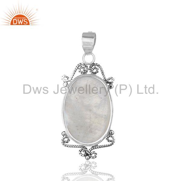 Suppliers Designer Sterling 92.5 Silver Oxidized Moonstone Rainbow Pendant Wholesale