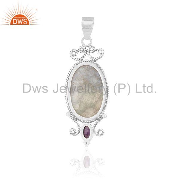 Suppliers Natural Amethyst and Moonstone Rainbow Gemstone 925 Silver Pendant Supplier