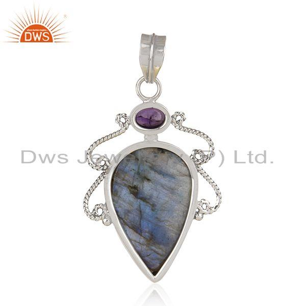 Suppliers Amethyst Labradorite Gemstone Oxidized Sterling Silver Pendant Jewelry