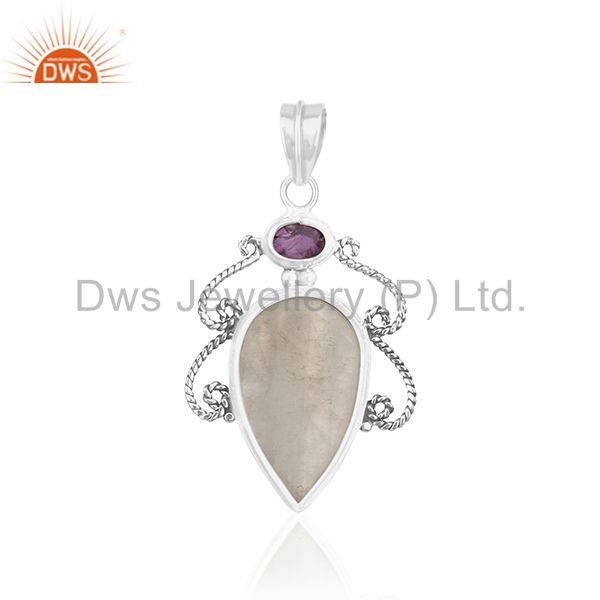 Suppliers Oxidized 925 Silver Amethyst Birhtstone and Moonstone Pendant Wholesale