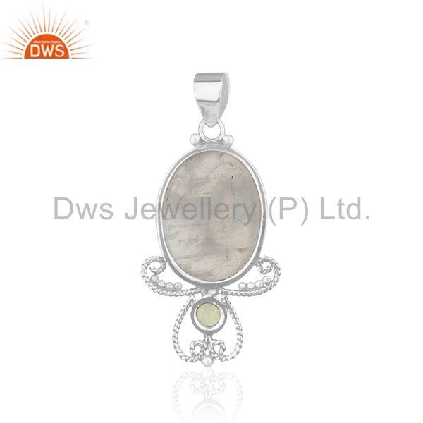Suppliers Peridot and Rainbow Moonsone 925 Silver Designer Pendant Wholesale