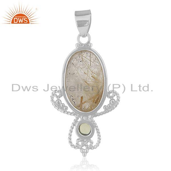 Suppliers Peridot and Rutile Gemstone Designer 925 Sterling Silver Pendant Manufacturer