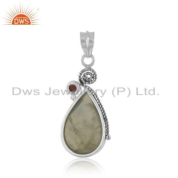 Suppliers Sterling Silver Oxidized Prehnite Garnet Gemstone Pendant Jewelry
