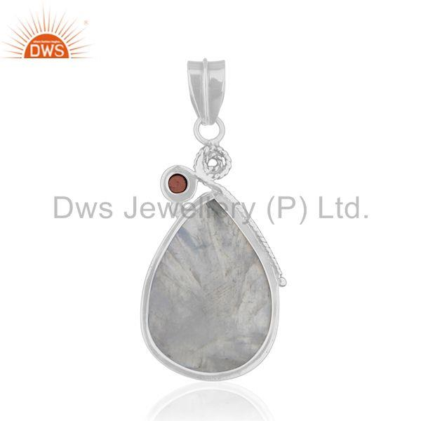 Suppliers Natural Garnet and Rainbow Moonstone Oxidized 925 Silver Pendant Wholesale