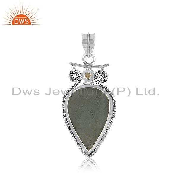 Suppliers Aquamarine and Citrine Gemstone Oxidized Silver Pendant Jewelry