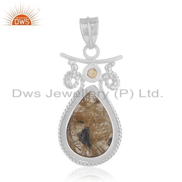 Suppliers Citrine and Rutile Gemstone 925 Sterling Silver Designer Pendant Manufacturers