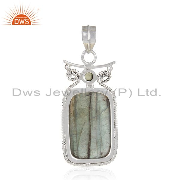 Suppliers Oxidized Sterling Silver Peridot and Labradorite Gemstone Artisan Pendant Jaipur