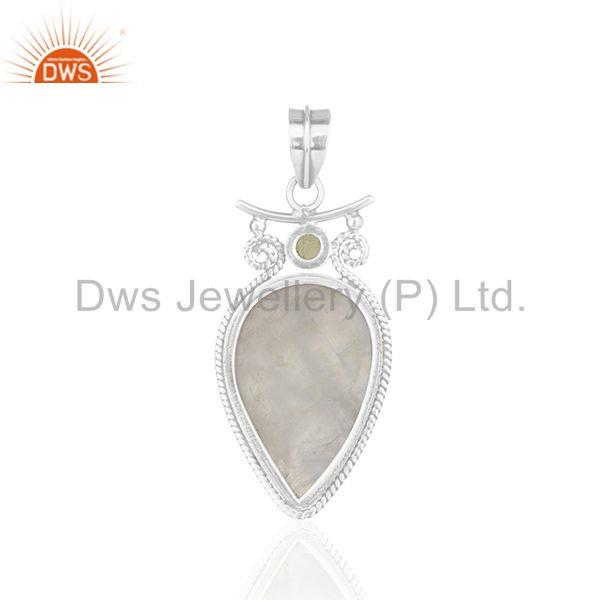 Suppliers Peridot Gemstone Rainbow Moonstone Oxidized 925 Silver Pendant Wholesale