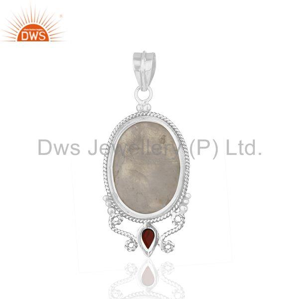 Suppliers Rainbow Moonstone and Garnet Gemstone 925 Oxidized Silver Designer Pendant