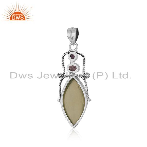 Suppliers Prehnite Amethyst Gemstone Sterling Silver Oxidized Pendant Jewelry