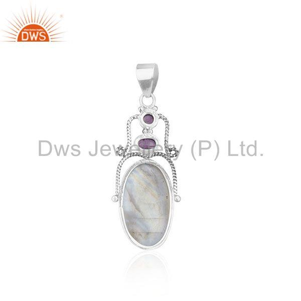 Suppliers Amethyst Gemstone Oxidized 925 Sterling Silver Oxidized Pendant Manufacturer