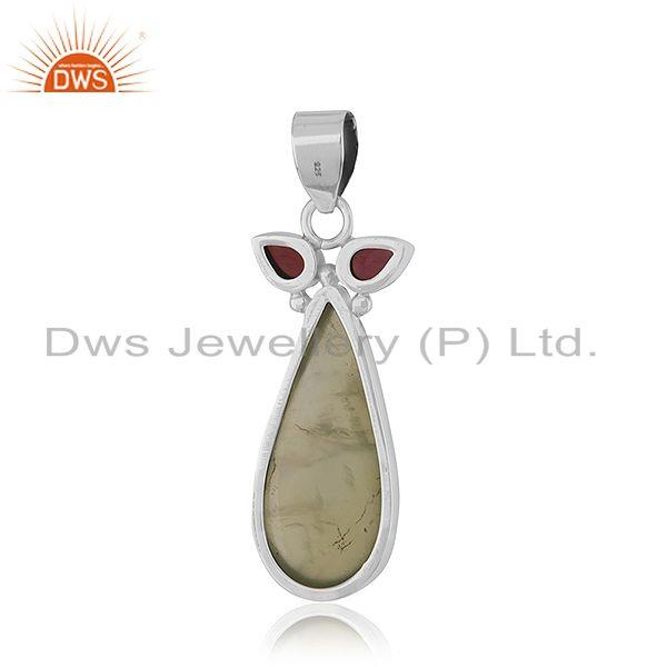 Suppliers Indian Designer 925 Silver Oxidized Silver Gemstone Pendant Jewelry