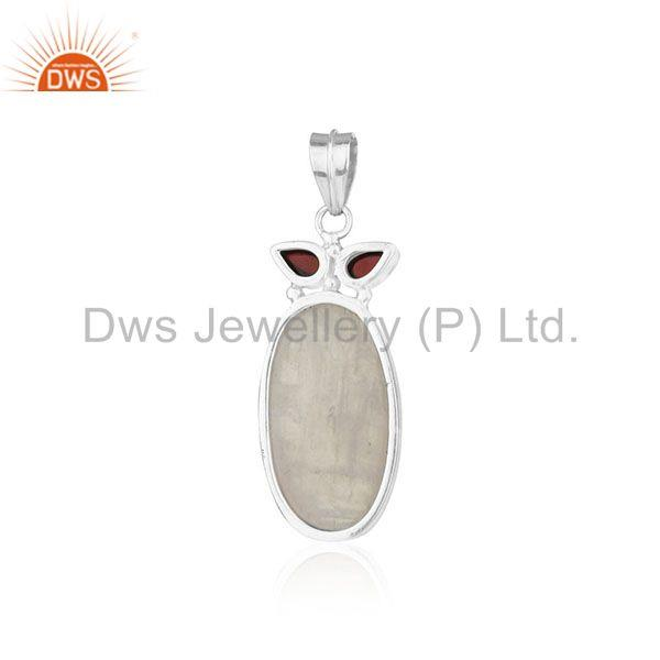 Suppliers Rainbow Moonstone and Garnet Gemstone 925 Silver Custom Pendant Wholesale