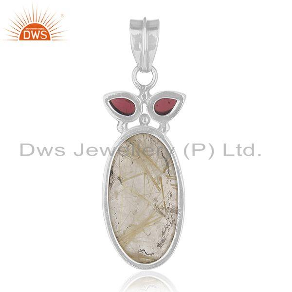 Suppliers Garnet and Golden Rutile Gemstone 925 Silver Designer Pendant Wholesale