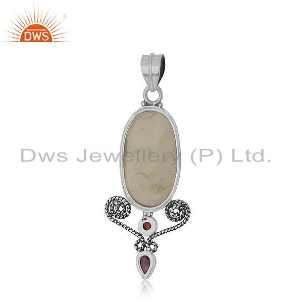 Suppliers Prehnite Garnet Gemstone Sterling Silver Oxidized Pendant