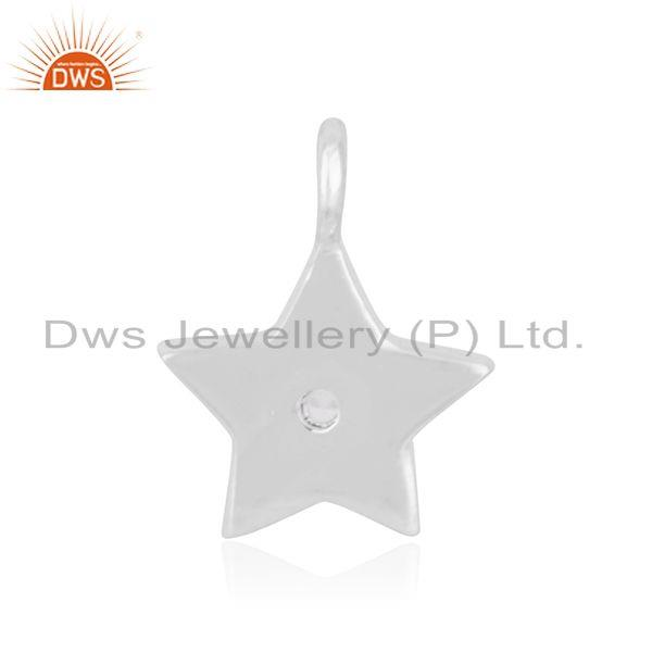 Suppliers 925 Sterling Fine Silver White Topaz Star Charm Pendant Jewelry